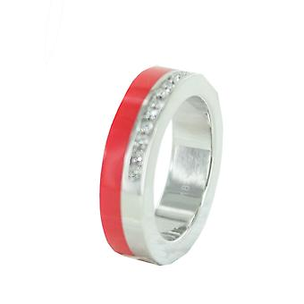 ESPRIT women's ring stainless steel Marin 68 glam silver / red ESRG11565K