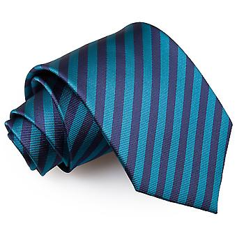 Navy Blue & Teal Thin Stripe Classic Tie