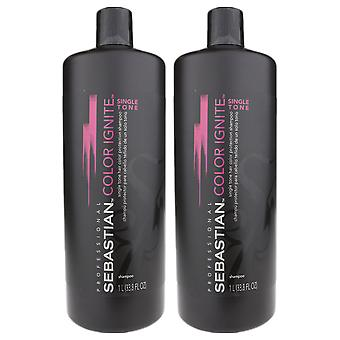 Sebastian Color Ignite Single Tone Shampoo 33.8oz/1 Liter New (Pack Of 2)