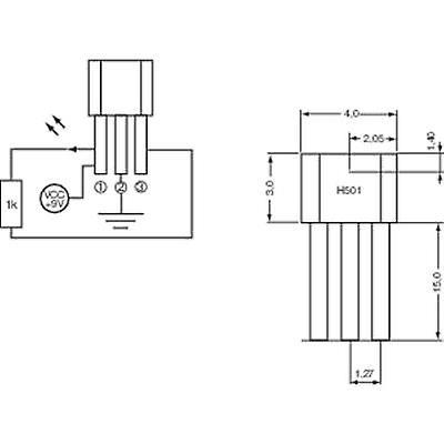 PIC Hall effect sensor H501 3.8 - 24 Vdc Reading range: +4 - +35 T TO-92-UA Soldering