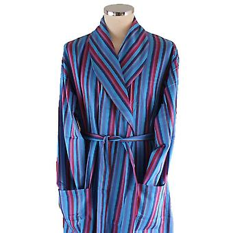 Bown of London Marylebone Dressing Gown - Light Blue/Navy/Red