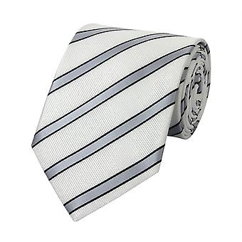 Tie tie tie tie 8cm white black grey striped Fabio Farini