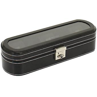 Friedrich leather watch case watch box, watch box LONDON black for 5 watches