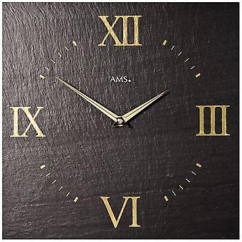 AMS 9517 quarzo orologio di parete dell'ardesia ardesia ardesia naturale guardare dorato