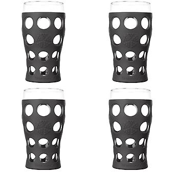 Lifefactory 20 oz Beverage Glass 4 Pack with Silicone Sleeves, Carbon