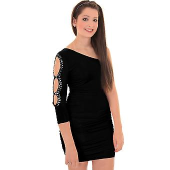 Ladies One Shoulder Diamante Cut Out Ruched Party Women's Bodycon Dress