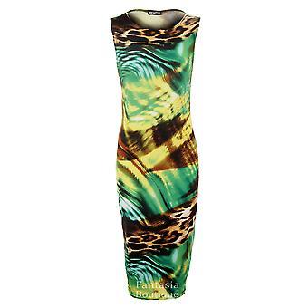 Robe de New Mesdames Leopard Tiger serpent multicolore Midi stretch Bodycon femmes