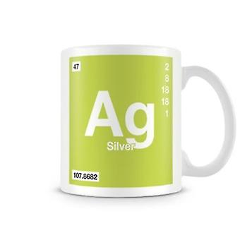 Scientific Printed Mug Featuring Element Symbol 047 Ag - Silver