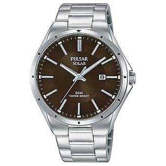Pulsar Mens Stainless Steel Bracelet Brown Dial PX3137X1 Watch