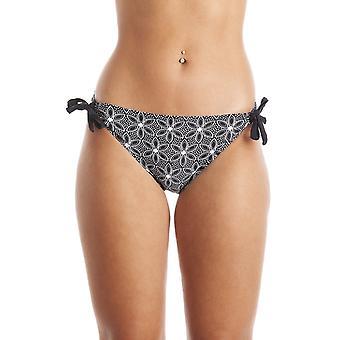 Camille White Aztec Floral Print Tie Side Black Bikini Bottoms