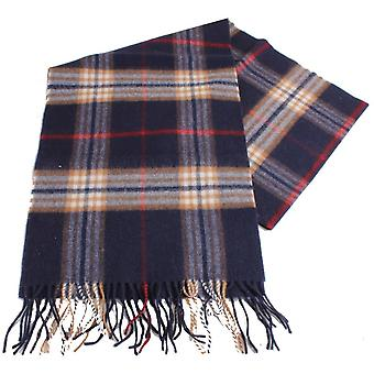 Bassin and Brown Hill Tartan Wool Scarf - Navy/Brown/White