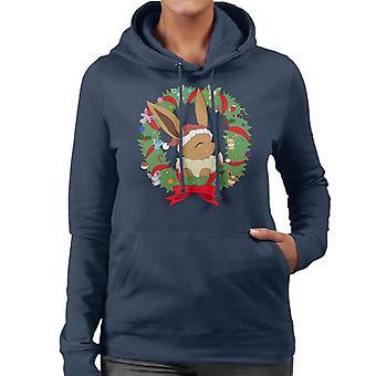 Eevee Christmas Wreath Pokemon Women's Hooded Sweatshirt