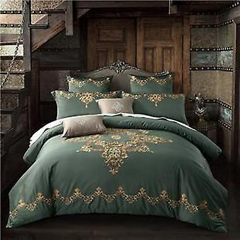 1000 Tc-floral Embroidered Egyptian Cotton Bed Sheet Pillowcases Duvet Cover Set