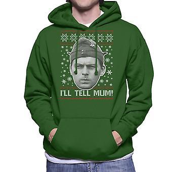Dads Army Pike Tell Mum Christmas Knit Pattern Men's Hooded Sweatshirt