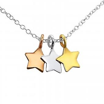 Girls 925 sterling silver 3 stars necklace
