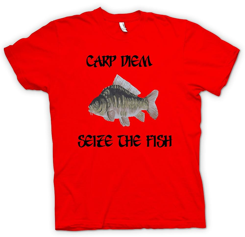 Mens T-shirt - Carp Diem - Seize The Fish - Funny