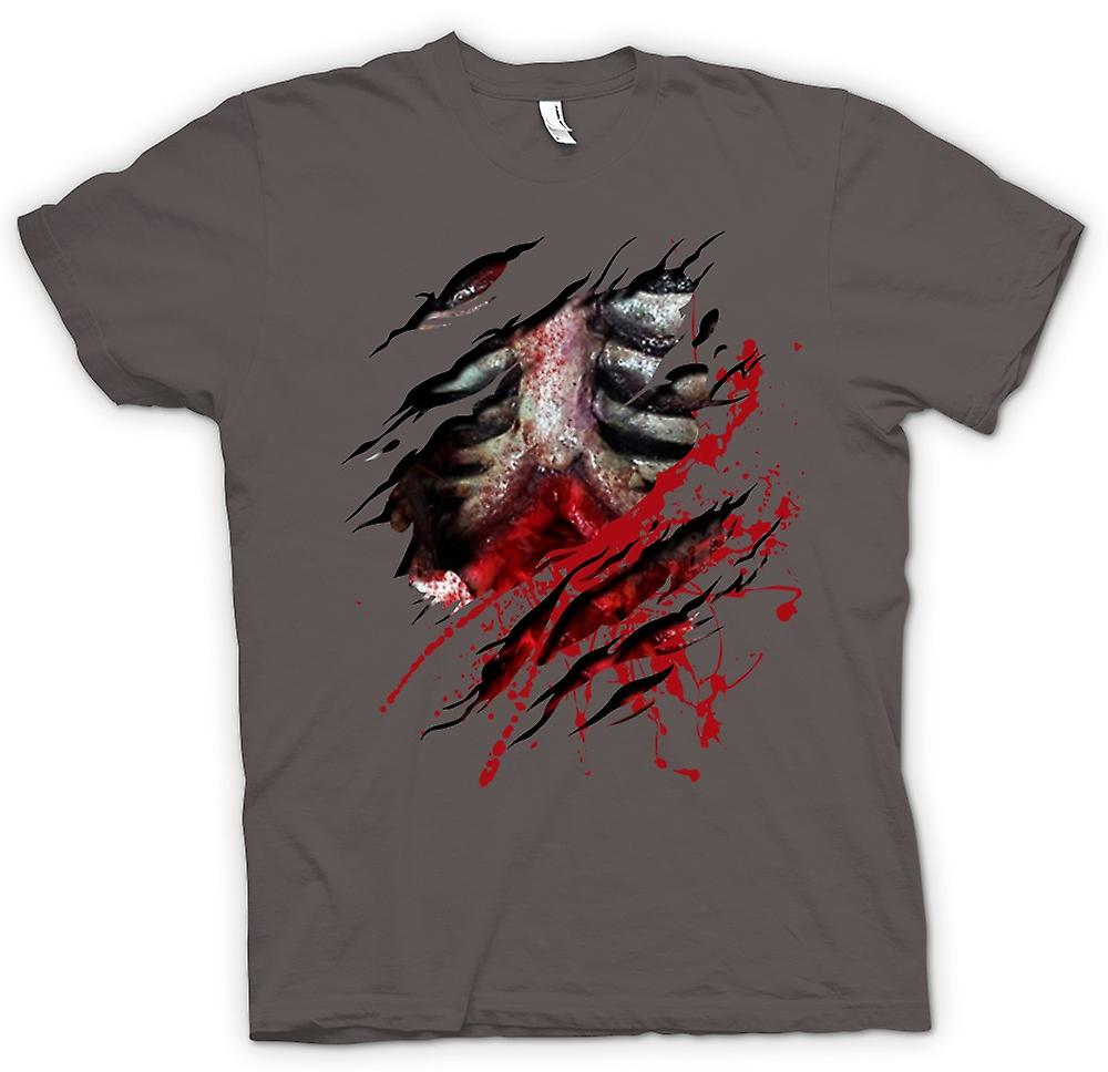 Womens T-shirt - Zombie Walking Dead Ribs And Guts Ripped Design