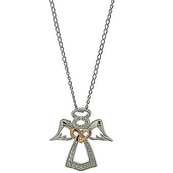 TOC Sterling Silver CZ Set Protective Angel Pendant Necklace 18