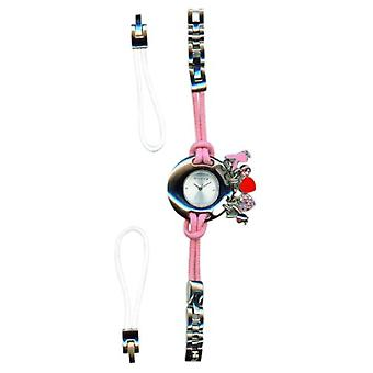 Playboy Pink Ladies Watch With Charms & Changeable White Strap Gift For Her