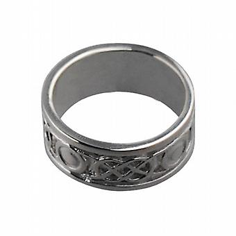 18ct White Gold 8mm Celtic Wedding Ring Size L