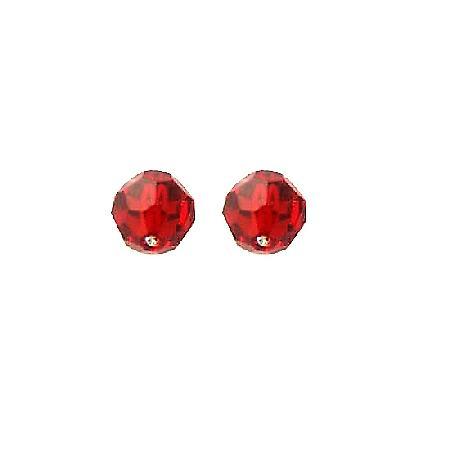 Swarovski Crystals Siam Red Swarovski Crystals Stud Earrings