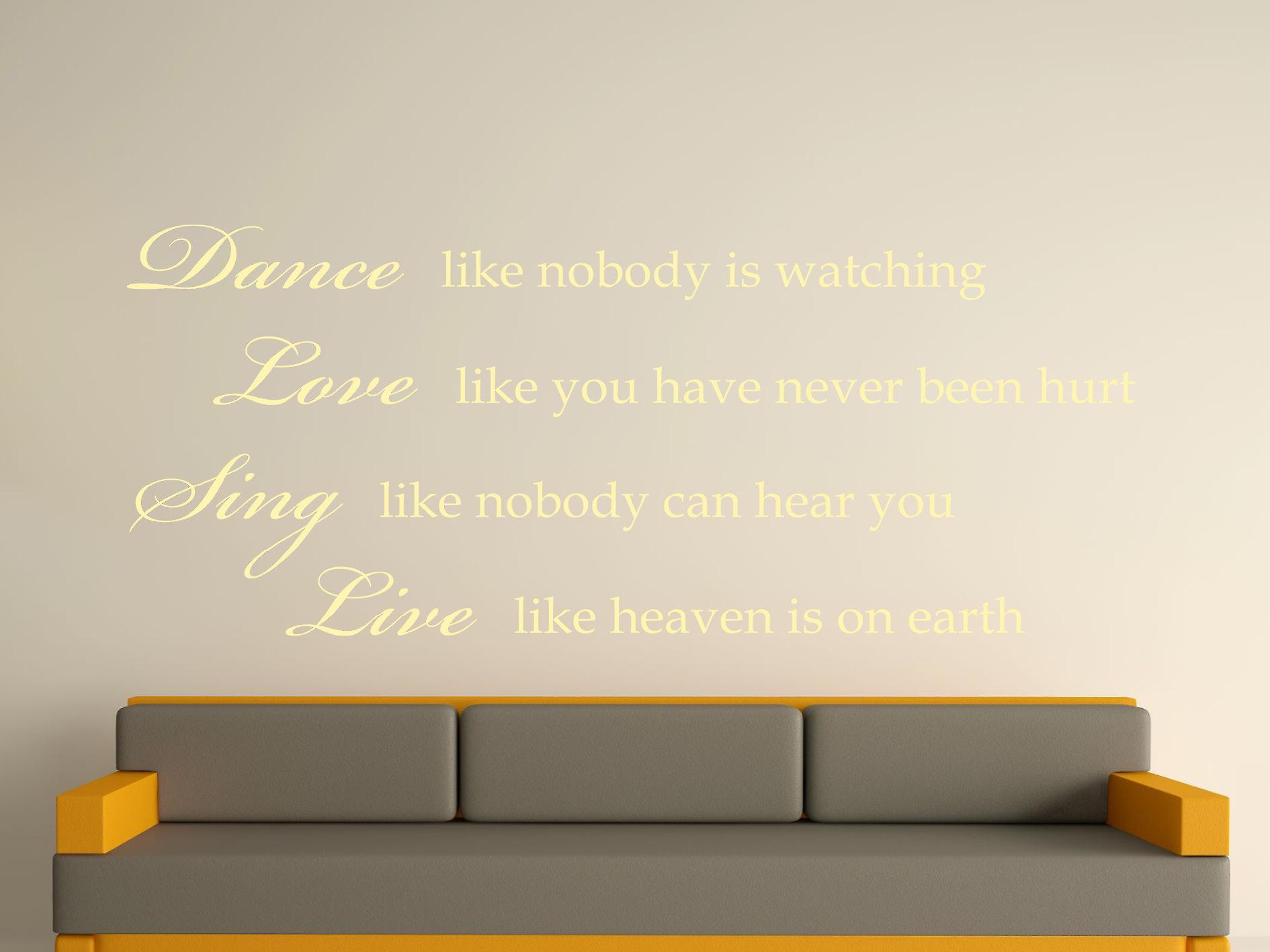Dance Like Nobody Is Watching Wall Art Sticker - Beige