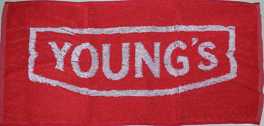 Youngs Beer red cotton bar towel   (pp)