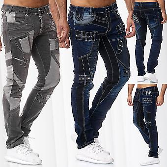 Men's Jeans Pants Japan Style Slim Fit Double Cargo Design Thick Seam Trousers