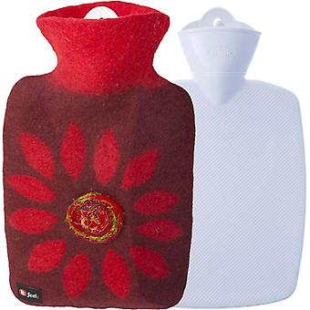 Hugo Frosch Classic Hot Water Bottle Wolle Deckel Blume 1,8 L
