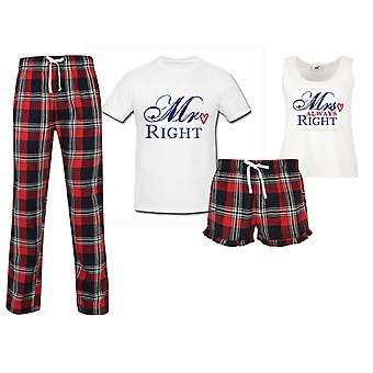 Mr Right Mrs Always Right Couples Matching Pyjama Tartan Set