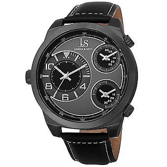 Joshua & Sons Men's JS88BK Black Triple Time Zone Quartz Watch with Leather Strap