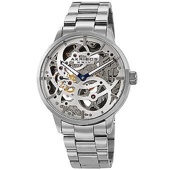 Montre bracelet squelette mécanique en acier inoxydable pour hommes akribos XXIV AKS191078SS