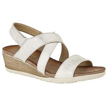 Ladies Womens Sandals Crossover Slip On Mid Heel Wedge Shoes