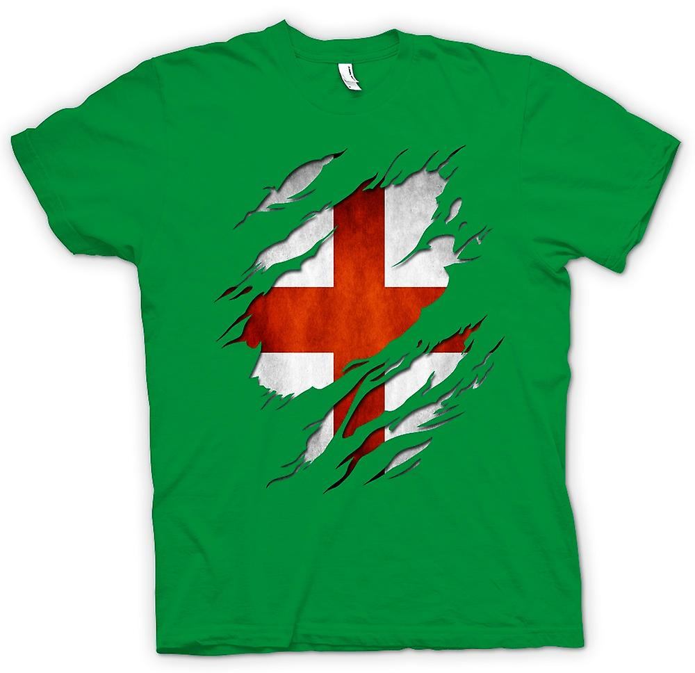 Mens T-shirt-St Georges English drapeau déchiré effet