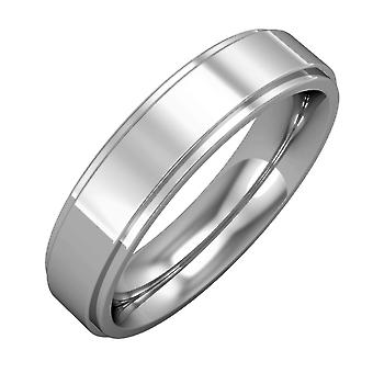 Jewelco London Platinum - 5mm Premium Flat Court Step Cut Band Commitment / Wedding Ring
