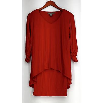 Kate & Mallory Knit V-Neck Dolman Sleeved Top Red Womens A421663