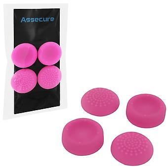 Concave & convex soft silicone thumb grips for sony ps4, analog thumb stick non slip grip caps for playstation 4 controller - 4 pack pink