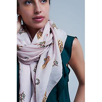 Pink scarf with animal print
