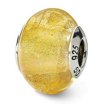 925 Sterling hopea antiikki viimeistely Italian Muranon lasi heijastukset keltainen italialainen Muranon helmi charmia