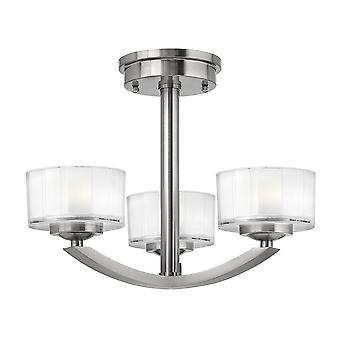 Meridian Contemporary 3 Arm Chandelier with Opal Glass Shade