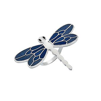 Dragonfly Enamel Scarf Ring - Turquoise