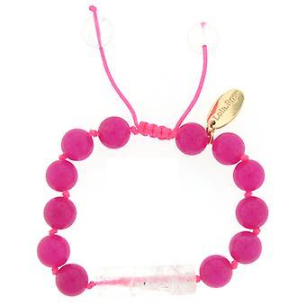 Lola Rose Emmeline armband bergkristal & Fuchsia kwartsiet
