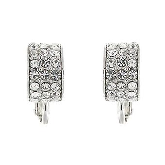 Clip On Earrings Store Silver and Three Row Clear Swarovski Crystal Semi Hoop Clip On Earrings