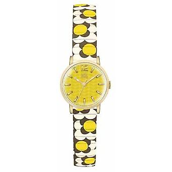 Orla Kiely Womans Yellow Gold Plated Dial Patterned Strap OK4044 Watch
