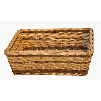 Large Two Tone Rectangular Wicker Tray