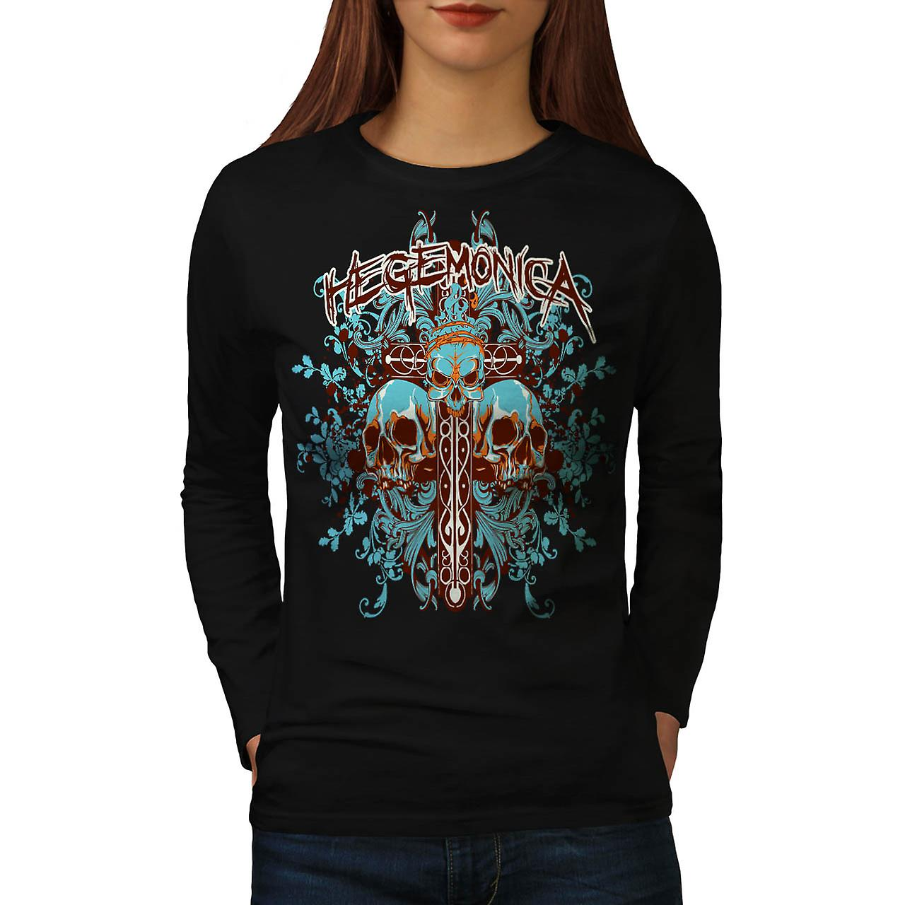 Crâne Grave Yard tombe Monster femme Black T-shirt manches longues | Wellcoda