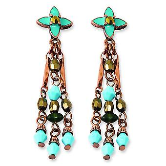 Surgical steel post Copper-tone Green Teal and Brown Acrylic Beads Post Earrings