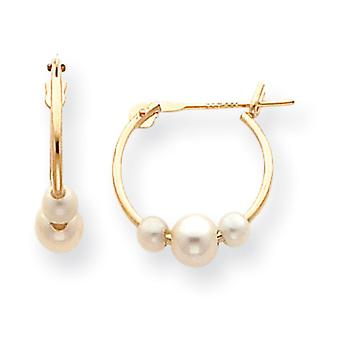 14k Yellow Gold Hollow Polished Moveable Hinged post Freshwater Cultured Pearl Hoop Earrings - Measures 13x15mm