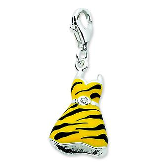 Sterling Silver Click-on CZ Enamel Tiger Dress Charm - Measures 31x12mm