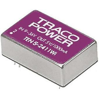 DC/DC converter (print) TracoPower TEN 5-2412WI 24 Vdc 12 Vdc 500 mA 5 W No. of outputs: 1 x